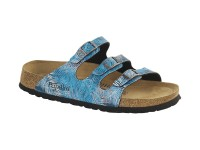Outlet / Birkenstock Florida Tropical Leaf Blue Soft Széles talp