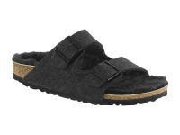 Papucs / Birkenstock Arizona Black Happy Sheep Lamb Bárányszőrmével