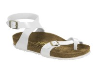 | Akciós női Birkenstock / Birkenstock Yara Fehér lakk fehér talp széles