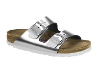 Papucs / Birkenstock Arizona Metallic Silver Bőr Soft
