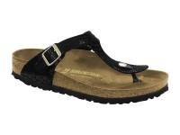 | Lábujjközis papucsok / Birkenstock Gizeh Shiny black széles talp