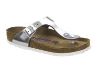 | Lábujjközis papucsok / Birkenstock Gizeh Metal silver széles talp soft talpbetét