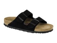 | Kétpántos papucsok / Birkenstock Arizona Velur bőr Fekete széles talp Soft betét