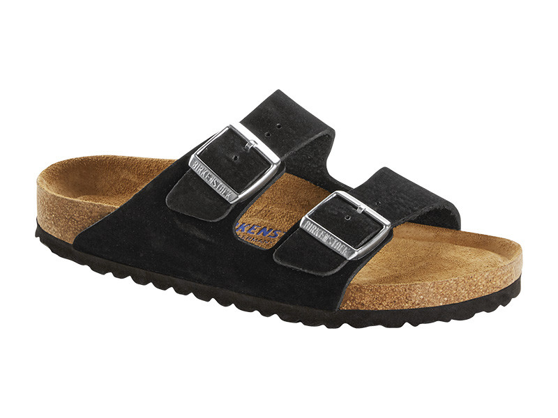 Birkenstock papucs Arizona Black Nubuk Bőr Soft