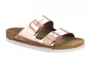 Kétpántos papucs / Birkenstock papucs Arizona Metallic Copper Bőr Soft