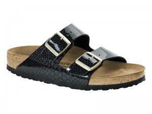 Papucs / Birkenstock Arizona Magic Snake Black lakk