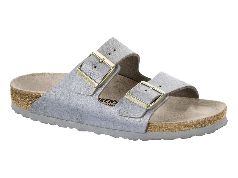 Birkenstock Arizona Washed Metal Blue Silver Bőr