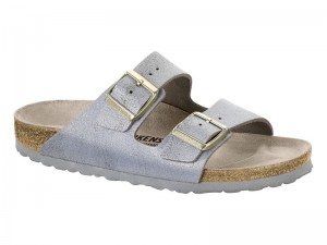 Papucs / Birkenstock Arizona Washed Metal Blue Silver Bőr