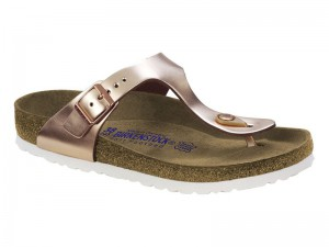 Birkenstock Arizona Washed Metal Blue Silver Bőr / Birkenstock Gizeh Copper Bőr Soft Széles