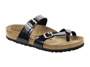 Papucs / Birkenstock Mayari Magic Snake Black Lakk Széles