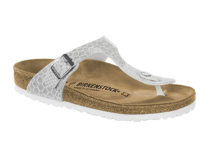 Birkenstock Gizeh Magic Snake White Lakk Széles