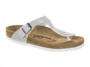 Outlet / Birkenstock Gizeh Magic Snake White Lakk Széles