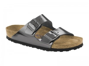 Papucs / Birkenstock Arizona Metallic Anthracit Bőr Soft