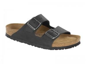 Papucs / Birkenstock Arizona Fekete Bőr Soft Széles talp