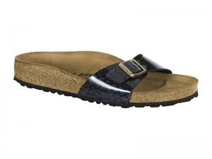 Papucs / Birkenstock Madrid Magic Snake Black Lakk