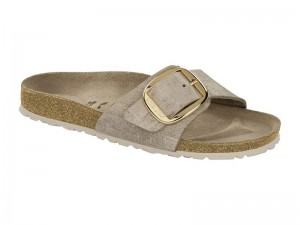 Papucs / Birkenstock Madrid Big Buckle Rose Gold Bőr