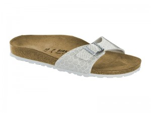 Papucs / Birkenstock Madrid Magic Snake White lakk