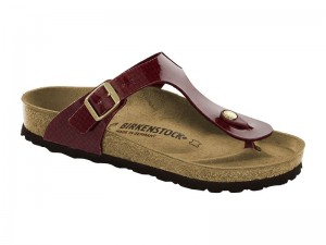 Papucs / Birkenstock Gizeh Magic Snake Bordeaux Lakk Széles
