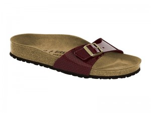 Papucs / Birkenstock Madrid Magic Snake Bordeaux Lakk Széles