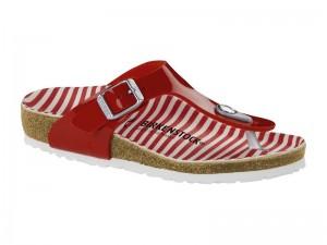 Papucs / Birkenstock Gizeh Stripes Red Széles