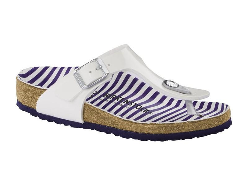 Birkenstock Gizeh Stripes White Széles