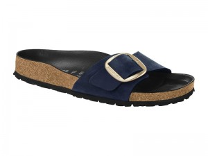 Papucs / Birkenstock Madrid Big Buckle Blue Bőr