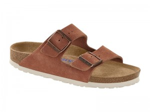 Papucs / Birkenstock Arizona Earth Red Velur Soft