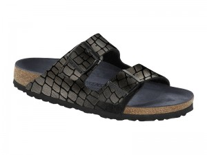 Papucs / Birkenstock Arizona Gator Gleam Black