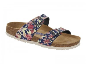 Papucs / Birkenstock Sydney Sn Flowers Navy Soft