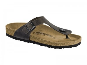 Papucs / Birkenstock Gizeh Iron Bőr Széles