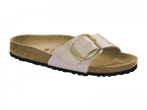 Papucs / Birkenstock Madrid Big Buckle Pearl White Széles