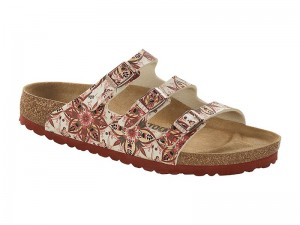 Hárompántos papucs / Birkenstock papucs Florida Boho Flowers Earth Red