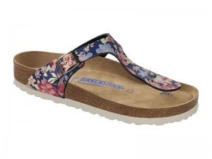 Outlet / Birkenstock papucs Gizeh Natural Flower Navy Soft Széles