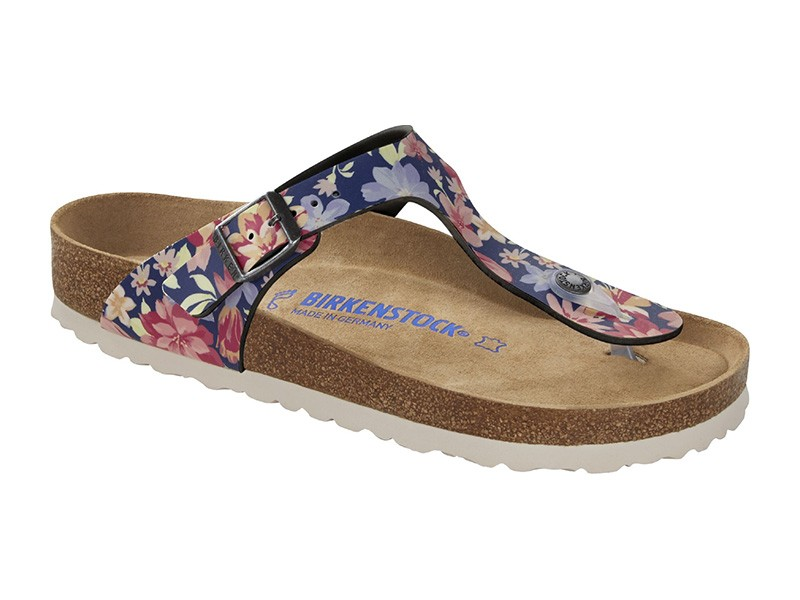 Birkenstock papucs Gizeh Natural Flower Navy Soft