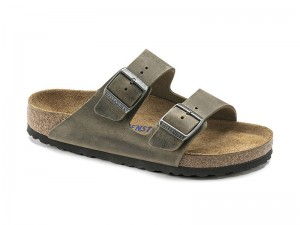 Kétpántos papucs / Birkenstock papucs Arizona Faded Khaki Bőr Soft